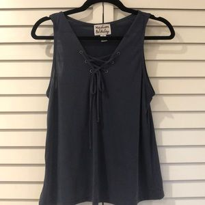 Nordstrom navy lace up tank top